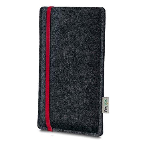Stilbag Etui Feutre 'LEON' pour Apple iPhone 7 - Couleur: rouge-anthracite