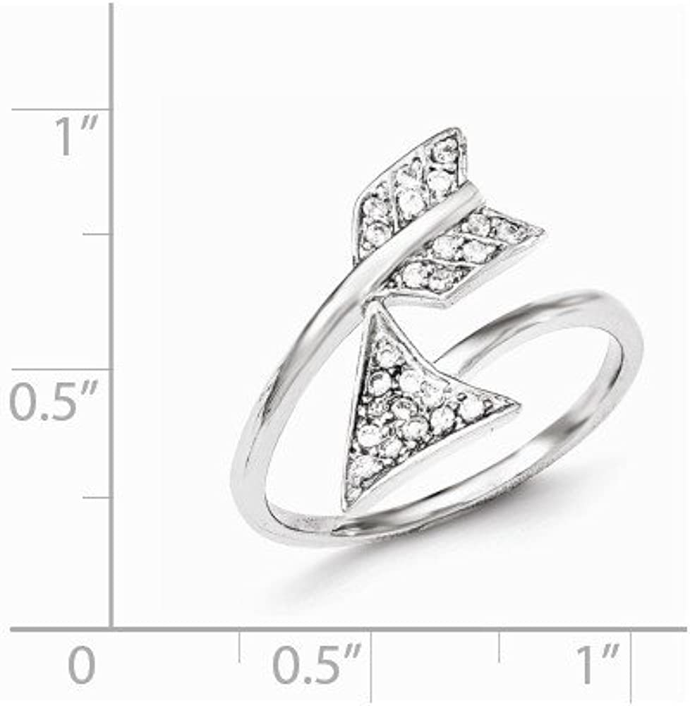 Sterling Silver Rhodium-plated Adjustable PolishedCZ Arrow Ring 1.87 gram Ideal Gifts For Women
