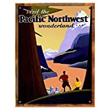 Wood-Framed Pacific NW Metal Sign: Travel Decor Wall Accent, Vintage Advertising for kitchen on reclaimed, rustic wood