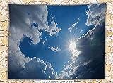 Apartment Decor Fleece Throw Blanket Clear Weather Sky Sun On Sky With Clouds Solar of Clean Energy Power Artwork Throw