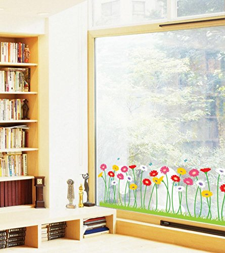Reusable Decoration Wall Sticker Decal - Growing Flowers ()
