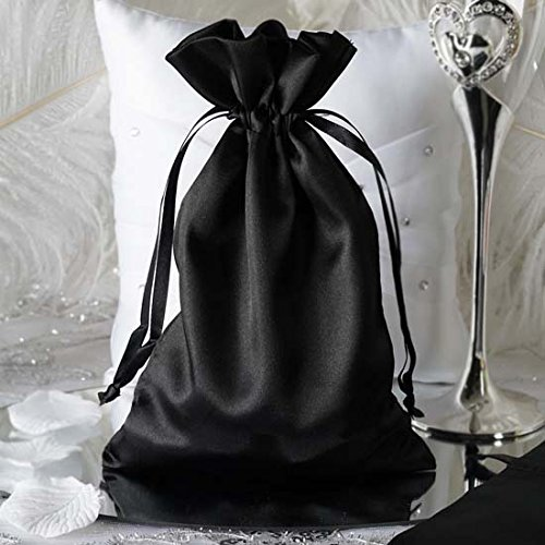 Efavormart 60PCS Black Satin Gift Bag Drawstring Pouch Wedding Favors Bridal Shower Candy Jewelry Bags - 6