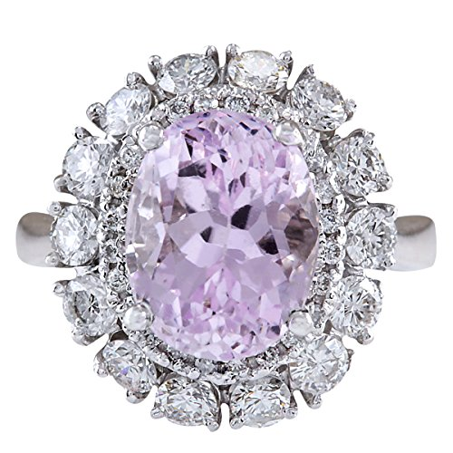 6.20 Carat Natural Kunzite And Diamond Ring 14K Solid White Gold