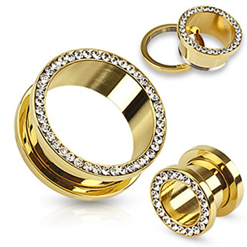 - Multi-Gemmed Rim Gold IP Over 316L Surgical Steel Screw Fit Freedom Fashion Tunnel (Sold by Pair)