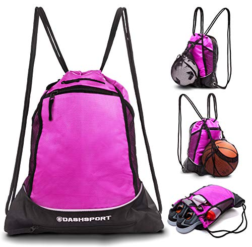 (Drawstring Bag with Mesh Net - Sackpack with Ball Net for All Sports - Soccer Bag, Basketball, Volleyball, Baseball for Youth - Sports Sack, Gym Bag for Men and Women, Tote Bag, Light Backpack)