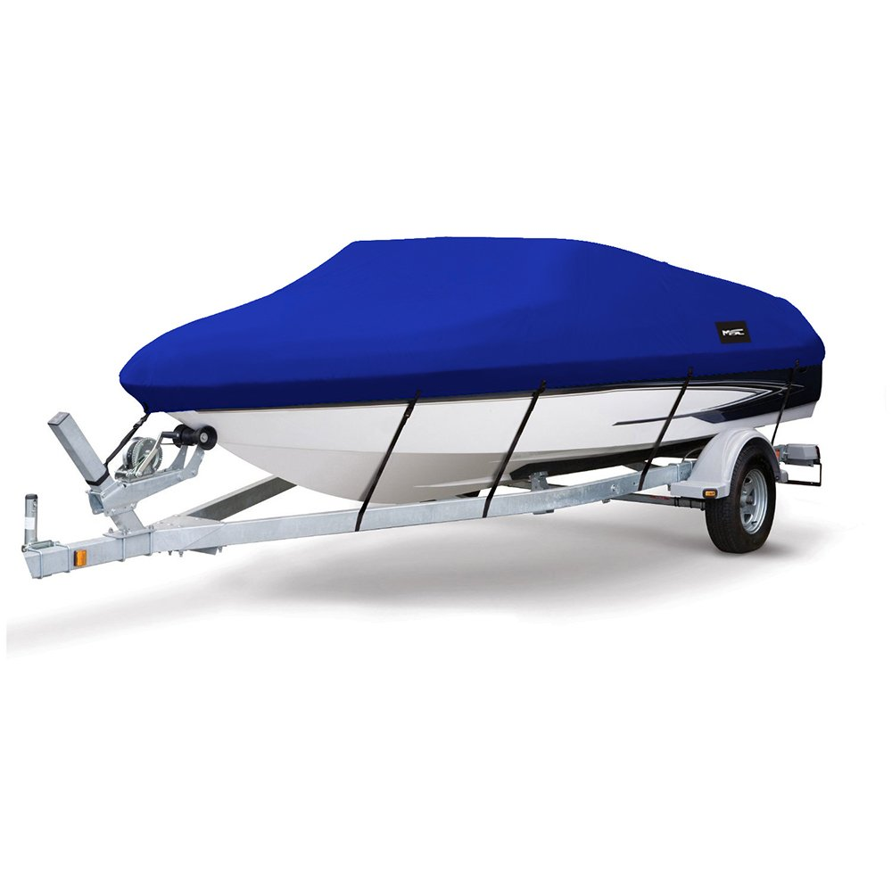MSC Heavy Duty 600D Marine Grade Polyester Canvas Trailerable Waterproof Boat Cover (Pacific Blue, Model B - Length:14'-16' Beam Width: up to 90'') by MSC
