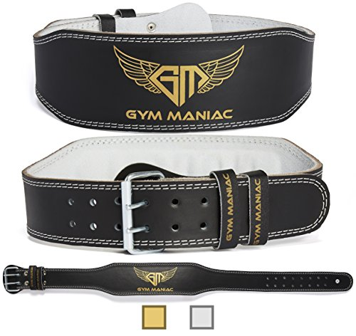Gym Maniac Weight Lifting Waist Gym Belt | Adjustable Size, 2 Prong Buckle, Comfy Suede, Reinforced Stitching | Support Your Back & Alleviate Pains (Gold, Large)