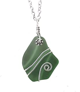 "product image for Handmade in Hawaii, wire wrapped peridot green sea glass necklace,""August Birthstone"", (Hawaii Gift Wrapped, Customizable Gift Message)"