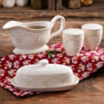 The Pioneer Woman Farmhouse Lace Butter Dish with Gravy Boat and Salt and Pepper Shakers