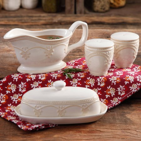 The Pioneer Woman Farmhouse Lace Butter Dish with Gravy Boat and Salt and Pepper Shakers (Butter Dish Clay compare prices)