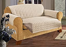 Elegance Linen Quilted Slip Cover Water-Absorbent Furniture Protector for Sofa, Natural