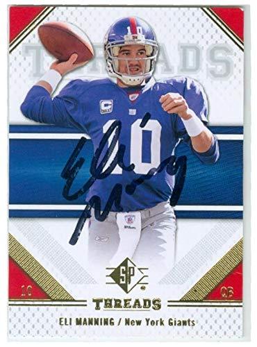 Eli Manning Autographed Football - Eli Manning autographed football card (New York Giants Super Bowl Champion) 2009 Upper Deck SP #37 - NFL Autographed Football Cards