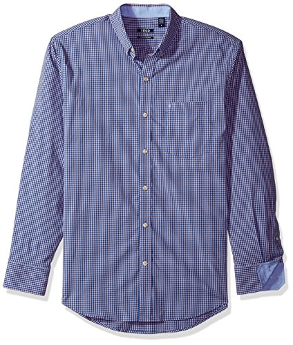 IZOD Men's Essential Gingham Long Sleeve Shirt, Dark Fairytake, X-Large (Dark Pink Gingham)