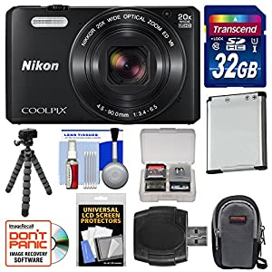 Nikon Coolpix S7000 Wi-Fi Digital Camera (Black) with 32GB Card + Case + Battery + Flex Tripod + Kit