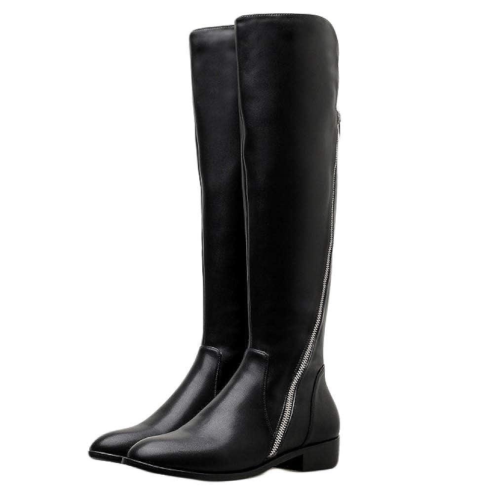 Frauen Hohe Stiefel Winter Warm Martin Lange Stiefel Chunky Heel Heel Heel Cowboy Stiefel Geeignet Für Outdoor-Shopping 1268e1