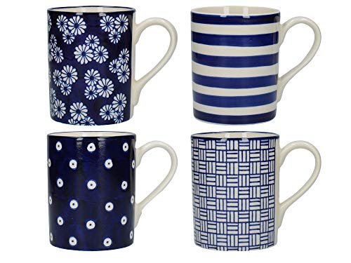Patterned Pottery - London Pottery Out of the Blue Straight Coffee Cups/Tea Mug Set with Assorted Patterned Designs, Stoneware, Navy Blue, 350 ml (4 Pieces)