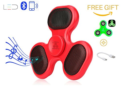 Bluetooth LED Fidget Spinner Speaker and Microphone with Charger Cable Plus Free Gift Glow in the Dark Hand Spinner by Fidget Widgetz EDC Music Player Wireless Phone Connection or SD Card - Red