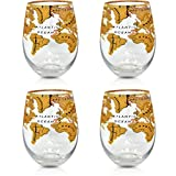Search Set of 4 Gold World Globe Stemless Wine Glasses 19 Oz For Christmas and Holiday Gifts, Bar Tasting Lovers, Office and Home Decor Accessories