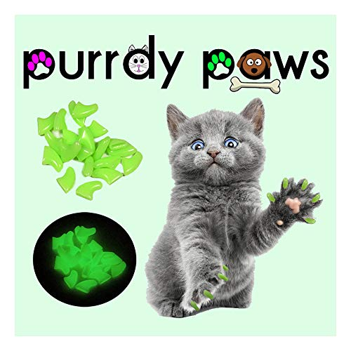 (Purrdy Paws Soft Nail Caps for Cat Claws Glow in The Dark Medium Size Brand)