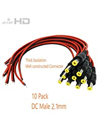 aimhd 10 pares Male & Female DC Pigtail Conectores de alimentación para CCTV Cámara de vigilancia sistema de video (2.1 mm X 5,5 mm)