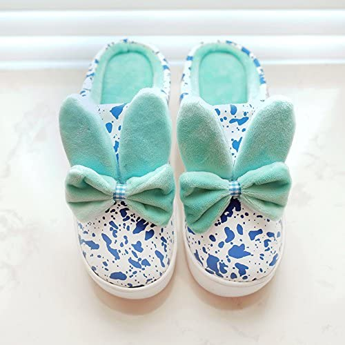 35-36 Aemember Cotton Slippers Female Winter Home Warm Bag With Pu Leather Waterproof Antiskid Thick Bottom Home Men Winter Slippers, Fit 34, 35 Feet ,Light Green
