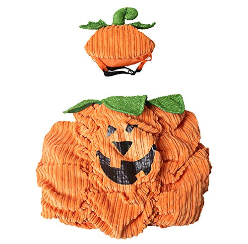 S Shangyuan Pet Halloween Pumpkin Set High Quality Corduroy Material Wear-Resistant Easy to Clean Autumn and Winter Funny with Hat Costumes