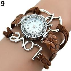 Girl's Knitting Faux Leather Band Love Heart Charm Rhinestone Bracelet Watch