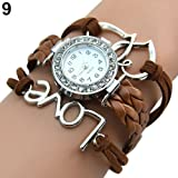 Girl's Knitting Faux Leather Band Love Heart Charm Rhinestone Bracelet Watch