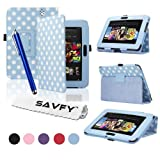 SAVFY� Kindle Fire HD Stylish Polka Dot PREMIUM Leather Case Cover Multi-Function Flip Pouch with Auto Wake and Sleep, includes Bonus: Screen Protector and Touch Stylus Pen - Multi-Colours Available (ONLY for New Kindle Fire HD, Oct.25 2012 Release) (Polka Dots, Blue)by SAVFY