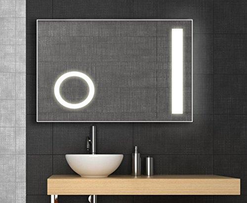Design LED Spiegel mit integriertem Kosmetikspiegel, 60x80 cm ...