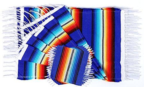 (Colorful Fringed Mexican Serape Place Mats Designed in Traditional Mexican Serape Blanket Material. Set of 6 Placemats (Blue))
