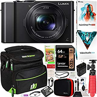 "Panasonic LUMIX LX10 4K Digital Camera with 3X Leica DC Vario-SUMMILUX Lens Power O.I.S. 3"" Tilting LCD Selfie Screen DMC-LX10 Bundle w/Deco Gear Travel Case + Photo Video Software Kit & Accessories"