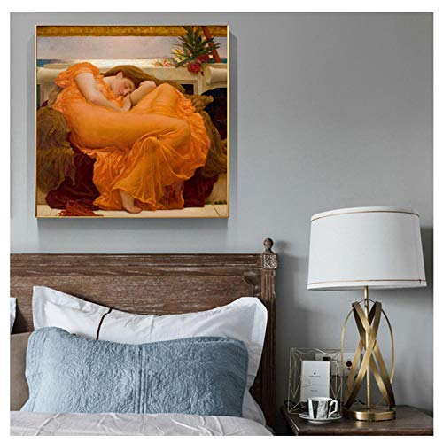 Flaming June Painting - dayanzai UK Famous Painting Flaming June Decorative Painting Poster Print On Canvas Wall Art Pictures for Room Decor 60X60Cm No Frame