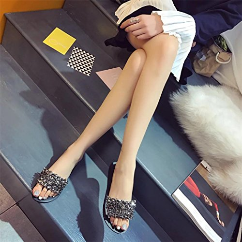 Shoes Bling 2 Jewelled Diamante Open for Beach Sandals Size Summer Ladies Wide Rhinestone 7 Sparkly Silver Fit Glitter Women Flat Lolittas Toe Slipper Peep wH1vEq