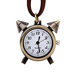 Vintage Retro Cute Alarm Clock Shape Necklace Sweater Leather Chain Pocket Watch, Bronze