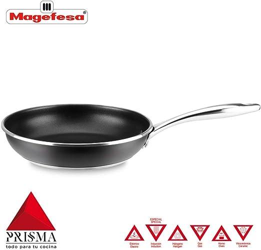 SARTÉN MAGEFESA PRISMA. Sartén fabricada en acero inoxidable 18/10, antiadherente triple capa, apta para todo tipo de cocina, INDUCCIÓN. Fácil Limpieza. Apto para lavavajillas y horno. (SARTEN, 24_cm): Amazon.es: Hogar