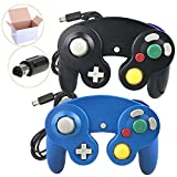 Poulep  2 Packs Classic NGC Wired Controllers for Wii Gamecube (Black1 and Blue1)