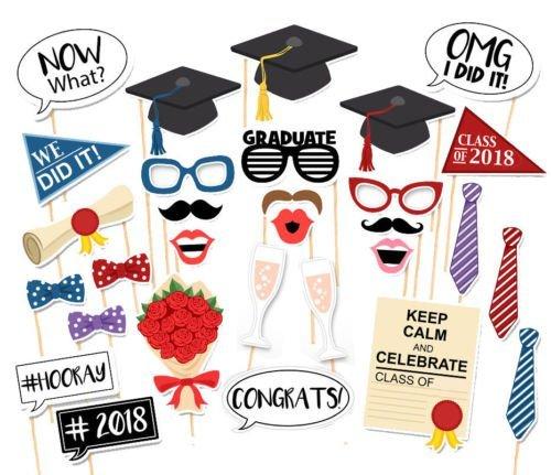 30Pcs Graduation Photo Booth Props,Graduation Photo Props Cl