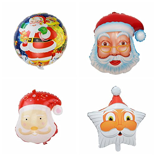 Christmas Santa Claus Latex Foil Aluminum Balloons Set House Party Decoration (Pack of 4) (Abc Halloween Shows 2017)