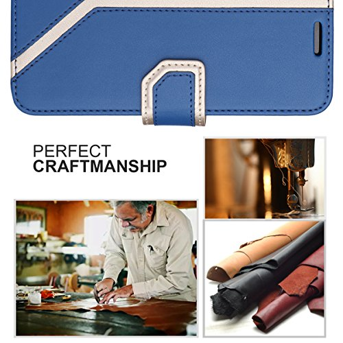 FYY Leather Case with Mirror for Samsung Galaxy S8, Leather Wallet Flip Folio Case with Mirror and Wrist Strap for Samsung Galaxy S8 Navy Blue