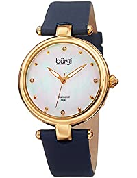 Women's Stainless Steel Quartz Watch with Leather Strap, Blue, 18 (Model: BUR169BU)