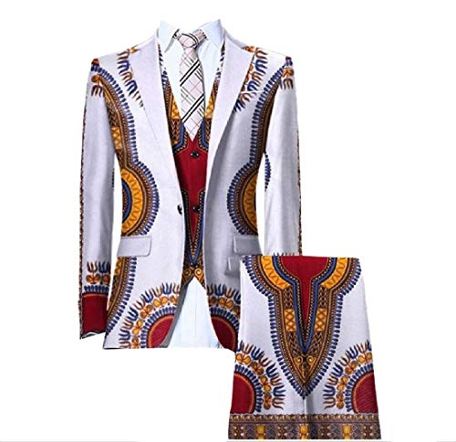 SportsX Mens Set Gilet Blazer Africa Pants Dashiki Vintage Business Suit 17 L by SportsX