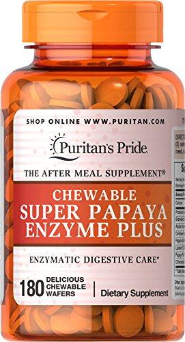 Puritan's Pride Chewable Super Papaya Enzyme Plus-180 Chewables (Puritans Chewable Pride)