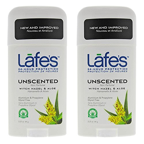 Lafe's Unscented Natural Deodorant Twist-Stick (Pack of 2) with Grapefruit Seed Extract, Witch Hazel Extract, Coriander Extract, Aloe Vera and Allantoin, 2.25 oz