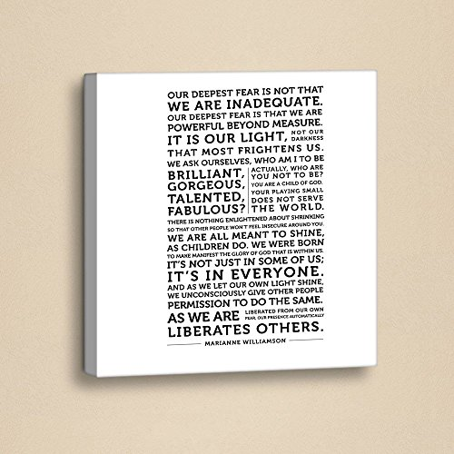 LaModaHome Writing Canvas Wall Art - Our Deepest Fear is Not That We are Inadequate, Letter - Wooden Thick Frame Painting, Size (13