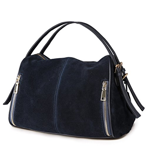- Nico Louise Women Boston Bag Genuine Suede Leahter Shoulder Travel Bag Casual Handbag (Deep Blue)