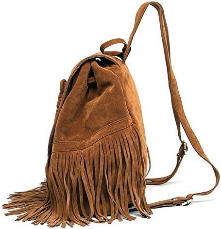 DAYAN Bolsa de Viaje Mochila Bandolera con Flecos Moda Casual Retro de Mujer Bolsa Color marr/ón