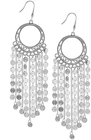 TRENDY FASHION JEWELRY DISK CHAIN FRINGE EARRINGS BY FASHION DESTINATION