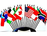 G-20 (Group of 20) WORLD FLAG SET with BASE--20 Polyester 4''x6'' Flags, One Flag for Each Country in in the G-20, 4x6 Miniature Desk & Table Flags, Small Mini Stick Flags