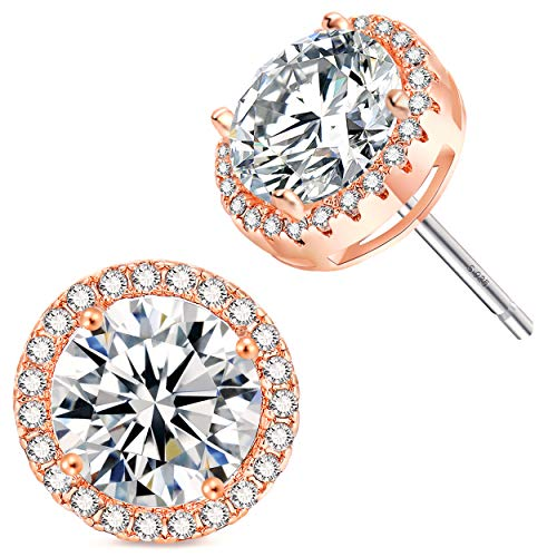 18K Rose Gold-Plated Cluster Round Cut Stud Earrings (1.66cttw) by fleur rouge